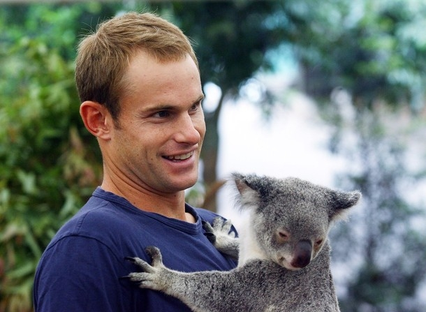 andy roddick and brooklyn decker kiss. Andy Roddick and Brooklyn Decker get the Koala Hug
