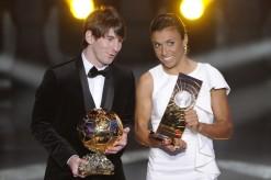 Argentina's Lionel Messi (L) winner of t