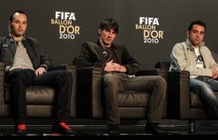 FIFA Men's Ballon d'Or of the Year 2010 nominees Iniesta, Messi and Xavi of Spain attend a press conference before the FIFA Ballon d'Or Gala in Zurich