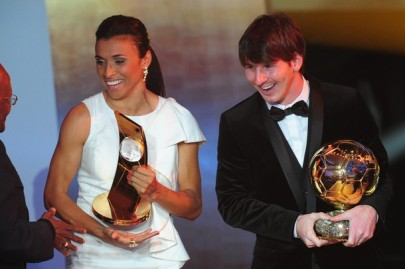 Argentina's Lionel Messi (R), winner of