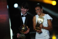 Argentina's Lionel Messi (L), winner of