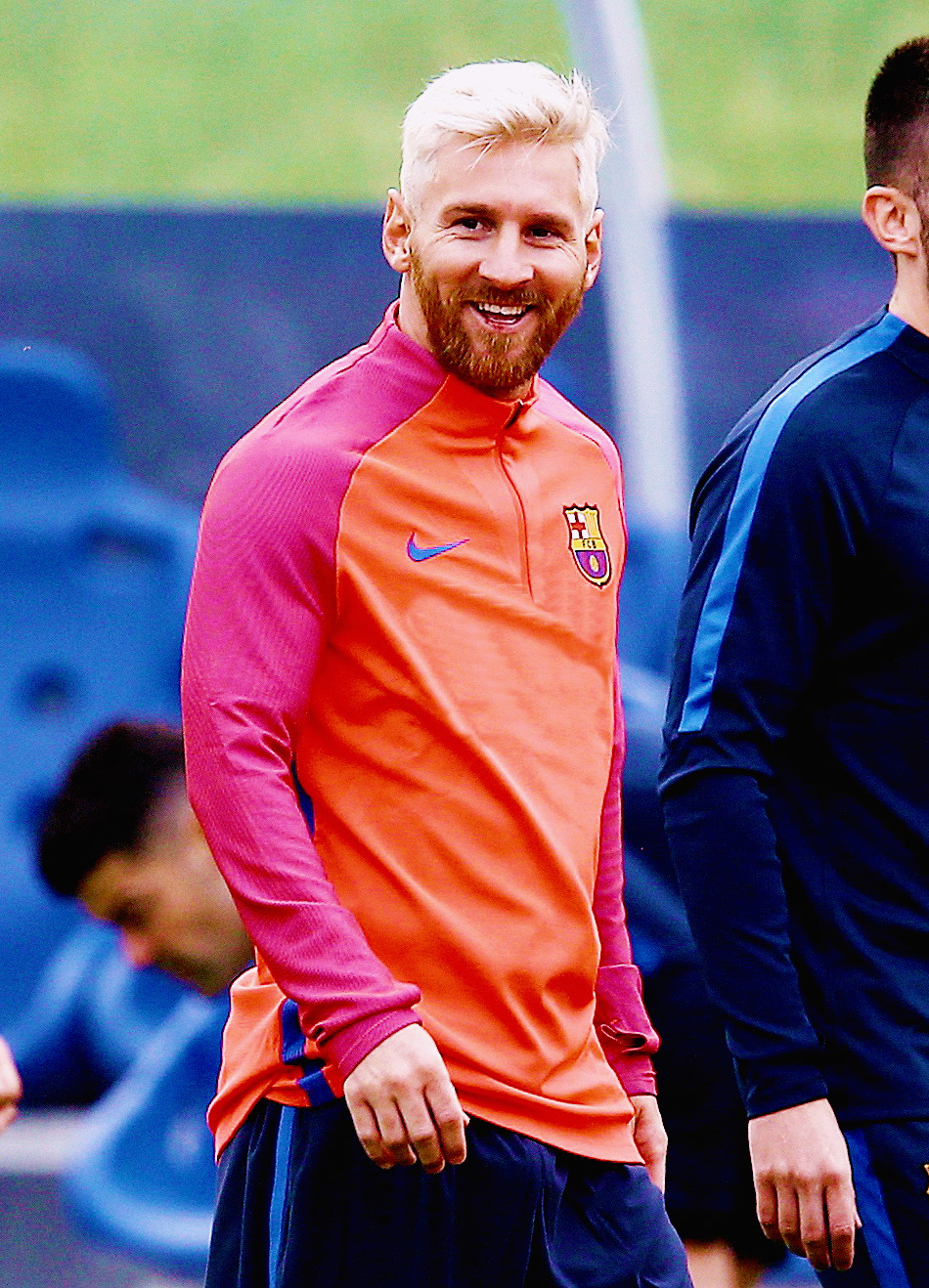 Lionel Messi of Barcelona smiles during the training session at St George's Park, Burton on July 25th 2016